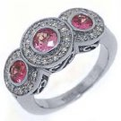 WOMENS PINK SAPPHIRE 3 STONE DIAMOND RING ROUND CUT BEZEL SET 14KT WHITE GOLD