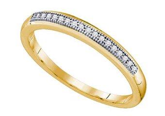 .05 CARAT WOMENS BRILLIANT ROUND CUT DIAMOND RING WEDDING BAND YELLOW GOLD