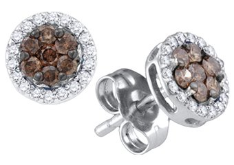 .25 CARAT BRILLIANT ROUND BROWN CHAMPAGNE DIAMOND HALO STUD EARRINGS WHITE GOLD