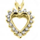 1/2 Carat Diamond Heart Shape Pendant 14KT Yellow Gold Brilliant Round Diamonds