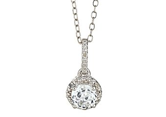 WHITE TOPAZ & DIAMOND HALO PENDANT STERLING SILVER ROUND 1.02 CARATS CABLE CHAIN