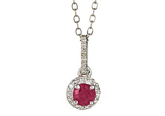 RUBY & DIAMOND HALO PENDANT STERLING SILVER ROUND .72 CARATS CABLE CHAIN