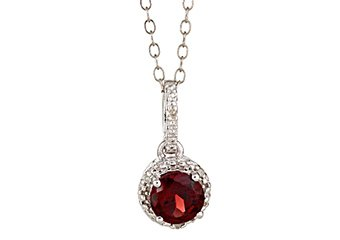 GARNET & DIAMOND HALO PENDANT STERLING SILVER ROUND 1.02 CARATS CABLE CHAIN