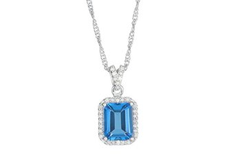 "BLUE TOPAZ & DIAMOND HALO PENDANT 9x7MM EMERALD CUT 925 SILVER 18"" CHAIN"
