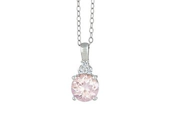 MORGANITE & DIAMOND PENDANT 14K WHITE GOLD ROUND CUT 2.11 CARATS CABLE CHAIN