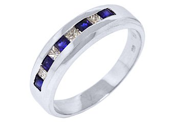 MENS 14KT WHITE GOLD BLUE SAPPHIRE DIAMOND RING WEDDING BAND PRINCESS