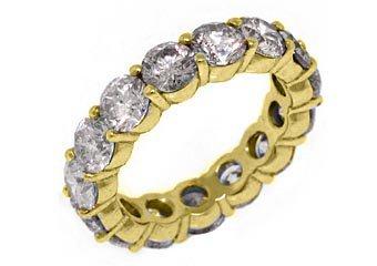 WOMENS 6 CARAT DIAMOND ETERNITY BAND WEDDING RING ROUND CUT 14KT YELLOW GOLD