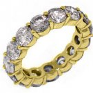 WOMENS 6 CARAT DIAMOND ETERNITY BAND WEDDING RING ROUND CUT 14KT YELLOW GOLD