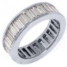 WOMENS 3 CARAT DIAMOND ETERNITY BAND WEDDING RING BAGUETTE CUT 14KT WHITE GOLD