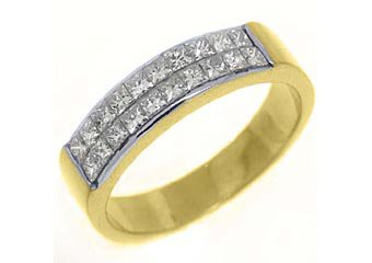 1.1CT WOMENS PRINCESS SQUARE CUT INVISIBLE DIAMOND RING WEDDING BAND YELLOW GOLD