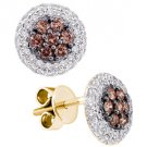 .77 CARAT BRILLIANT ROUND BROWN CHAMPAGNE DIAMOND HALO STUD EARRINGS YELLOW GOLD