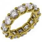 WOMENS 7 CARAT DIAMOND ETERNITY BAND WEDDING RING ROUND CUT 14KT YELLOW GOLD
