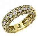 WOMENS DIAMOND ETERNITY BAND WEDDING RING ROUND CUT BEZEL SET 14KT YELLOW GOLD