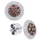 .77 CARAT BRILLIANT ROUND BROWN CHAMPAGNE DIAMOND HALO STUD EARRINGS WHITE GOLD