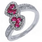 WOMENS PINK SAPPHIRE DIAMOND ENGAGEMENT RING ROUND SQUARE CUT HEART SHAPE