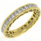 WOMENS DIAMOND ETERNITY BAND WEDDING RING PRINCESS SQUARE CUT 14KT YELLOW GOLD