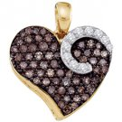.75 Carat Champagne Cognac Brown Diamond Heart Pendant Round Cut Yellow Gold