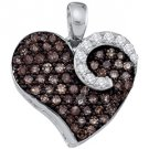 .75 Carat Champagne Cognac Brown Diamond Heart Pendant Round Cut White Gold