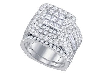 WOMENS DIAMOND ENGAGEMENT HALO RING WEDDING BAND BRIDAL SET PRINCESS 4 CARATS