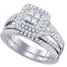 WOMENS DIAMOND ENGAGEMENT HALO RING WEDDING BAND BRIDAL SET PRINCESS SPLIT SHANK