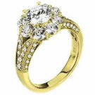 WOMENS DIAMOND ENGAGEMENT HALO RING ROUND SHAPE CUT 2.69 CARAT 14K YELLOW GOLD