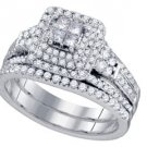 WOMENS DIAMOND ENGAGEMENT HALO RING WEDDING BAND BRIDAL SET PRINCESS 1.01 CARAT