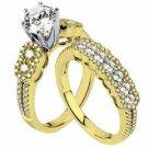 DIAMOND ENGAGEMENT RING WEDDING BAND BRIDAL SET ROUND CUT 2.16 CARAT YELLOW GOLD