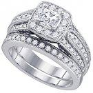 WOMENS DIAMOND HALO ENGAGEMENT RING WEDDING BAND BRIDAL SET PRINCESS CUT 1.47 CT