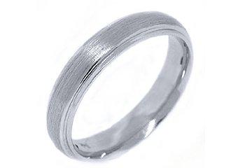 MENS WEDDING BAND ENGAGEMENT RING 14KT WHITE GOLD BRUSHED SAND FINISH 4.5mm