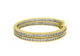 WOMENS 4.2 CARAT BRILLIANT ROUND CUT DIAMOND HOOP EARRINGS YELLOW GOLD