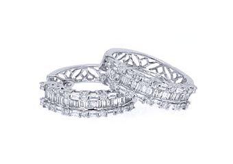 WOMENS 2.25 CARAT ROUND BAGUETTE CUT DIAMOND HOOP EARRINGS WHITE GOLD