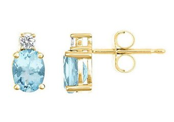 YELLOW GOLD AQUAMARINE & DIAMOND STUD EARRINGS OVAL SHAPE 7mmx5mm 14KT
