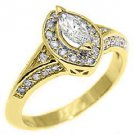 1 CARAT WOMENS ANTIQUE MARQUISE CUT DIAMOND HALO ENGAGEMENT RING 14K YELLOW GOLD