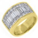 3.48CT WOMENS PRINCESS BAGUETTE INVISIBLE DIAMOND RING WEDDING BAND YELLOW GOLD