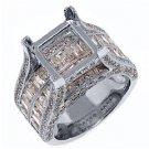 2.68 CARAT WOMENS DIAMOND ENGAGEMENT RING SEMI-MOUNT FOR PRINCESS CUT WHITE GOLD