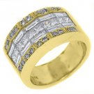 2.52CT WOMENS PRINCESS BAGUETTE INVISIBLE DIAMOND RING WEDDING BAND YELLOW GOLD
