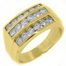 MENS 2.25 CARAT BRILLIANT ROUND CUT DIAMOND RING WEDDING BAND 14KT YELLOW GOLD