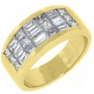 1.65CT WOMENS PRINCESS BAGUETTE INVISIBLE DIAMOND RING WEDDING BAND YELLOW GOLD
