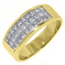 1.8CT WOMENS PRINCESS SQUARE CUT INVISIBLE DIAMOND RING WEDDING BAND YELLOW GOLD