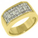 MENS 2 CARAT PRINCESS BAGUETTE CUT DIAMOND RING WEDDING BAND 18KT YELLOW GOLD