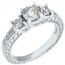1.43 CARAT WOMENS 3-STONE PAST PRESENT FUTURE DIAMOND RING ROUND CUT WHITE GOLD