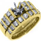 1.4 CARAT WOMENS DIAMOND ENGAGEMENT RING SEMI-MOUNT SET PRINCESS CUT YELLOW GOLD