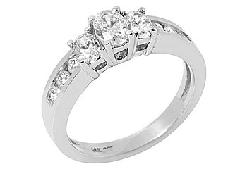 1.4 CARAT WOMENS 3-STONE PAST PRESENT FUTURE DIAMOND RING OVAL SHAPE WHITE GOLD