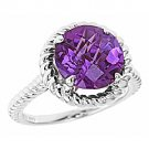 WOMENS AMETHYST RING 4.09 CARAT CHECK TOP 11mm ROUND SHAPE 925 STERLING SILVER
