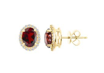 3.00 CARAT GARNET & DIAMOND STUD HALO EARRINGS OVAL SHAPE YELLOW GOLD