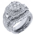 2.5 CARAT DIAMOND ENGAGEMENT HALO RING WEDDING BAND BRIDAL SET ROUND WHITE GOLD