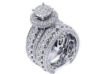 6 CARAT DIAMOND ENGAGEMENT RING HALO WEDDING BAND BRIDAL SET ROUND WHITE GOLD