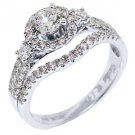 1.40 CARAT WOMENS DIAMOND ENGAGEMENT HALO RING BRILLIANT ROUND CUT WHITE GOLD