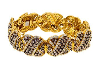 "WOMENS 16 CARAT BROWN DIAMOND BANGLE BRACELET ROUND CUT 10K YELLOW GOLD 7"" INCH"