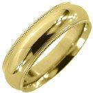 MENS WEDDING BAND ENGAGEMENT RING YELLOW GOLD COMFORT FIT MILGRAIN 6mm